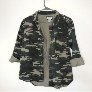 Forever 21 Green Camo Button Up Jacket Denim EUC